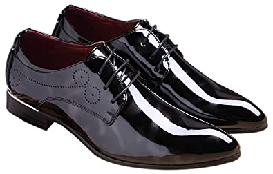 782df910f57 Black Dress Shoes Men Pointed Toe Floral Patent Leather Lace Up Oxford  Fashion Formal Shoes Black