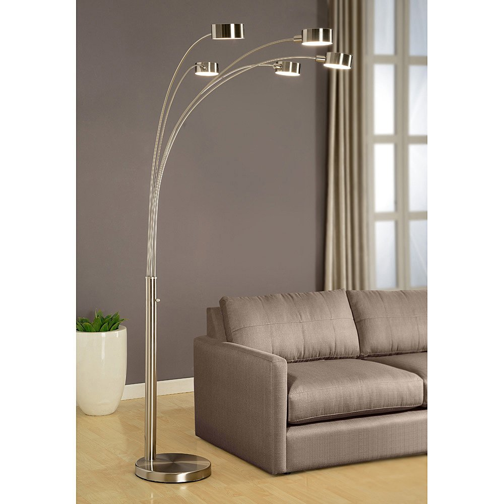 Amazon.com: Artiva USA Micah   Modern U0026 Stylish   5 Arc Brushed Steel Floor  Lamp W/ Dimmer Switch, 360 Degree Rotatable Shades   Dim Options   Bright  ...