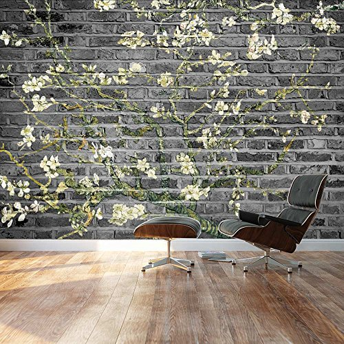 Almond Blossom by Vincent Van Gogh Floral painting on a grayscale textured background Wall Mural
