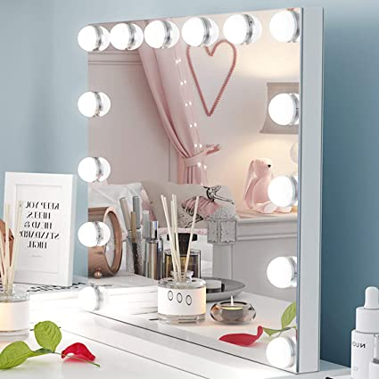 check out 1acff 16e64 Ovonni Lighted Vanity Makeup Mirror with Bright LED Lights, Light-up  Frameless Makeup Dressing Table Cosmetic Mirrors with 14 Dimmable Bulbs,  Touch ...
