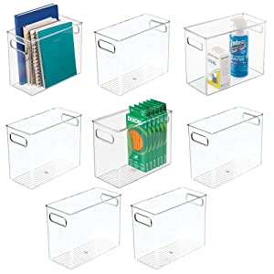 """mDesign Plastic Home, Office Storage Organizer Bin with Handles - Container for Cabinets, Drawers, Desks, Workspace - BPA Free - for Pens, Pencils, Highlighters, Notebooks - 5"""" Wide, 8 Pack - Clear"""
