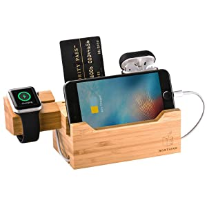 BOXTHINK Charging Dock Airpods Apple Watch Stand Bamboo Wood Charging Station Desk Organization Compatible with AirPods/Apple Watch Series3/2/1/iPhone