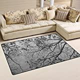 Naanle Winter Trees Area Rug 3'x5′, Trees Leaves Polyester Area Rug Mat for Living Dining Dorm Room Bedroom Home Decorative Review