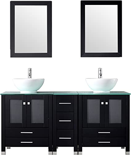 WONLINE 60″ Black Double Wood Bathroom Vanity Cabinet and Round Ceramic Sink w/Mirror Combo Wash Basin