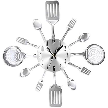 lokauf Relojes Cocina Reloj de pared radio reloj metal cocina Salón Cuco Relojes