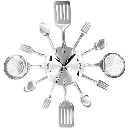 Küchenuhr, Likeluk 15 Zoll(38Cm) Besteck-Design Lautlos Wanduhr