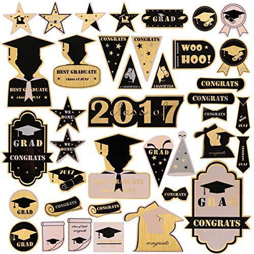 BESTOMZ 2017 Graduation Stickers Decal 40 Different Patterns for Wall Window Album Decoration Party Supplies (Gold)]()