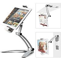 Redlemon Soporte para Tablet Metálico con Brazo Flexible y Plegable, Base Autoadherible para Escritorio, Cocina o Pared, Stand Multiángulo de 19 cm, Compatibilidad Universal. Plata