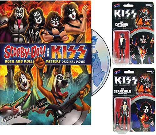 StarCatMan Scooby-Doo & Gang Meets Kiss Rock band Cartoon DVD pack & Catman & Starchild Kiss Biff Bang Pow! Figures Animated Mystery Movie Pack