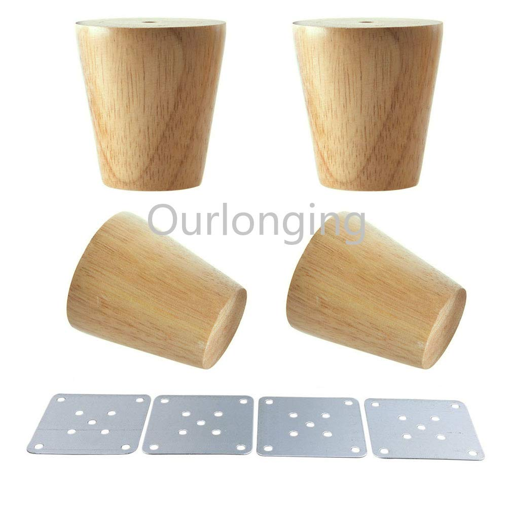 Gimax 4PCS Natural Wood Reliable 80x58x38mm Wood Furniture Leg Cone Shaped Wooden Feet with Gaskets