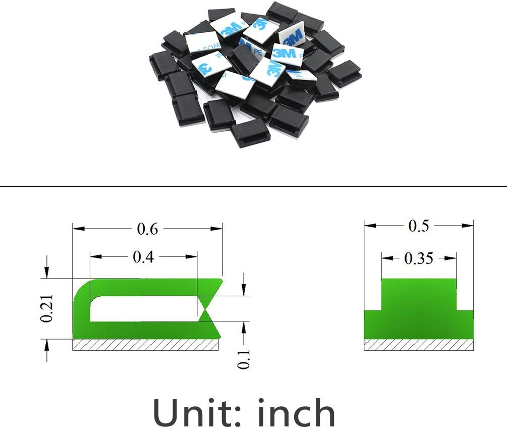 100 Pieces, Black Self Adhesive Wire Clips Management for Home and Office Ethernet Cable Clips Adhesive 3m Wire Clips Holder