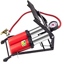 Double Barrel Footpump, with Accurate Pressure Gauge And Smart Valves 160PSI Air Pump for Bicycles Motorcycles Cars Balls And Other Inflatables