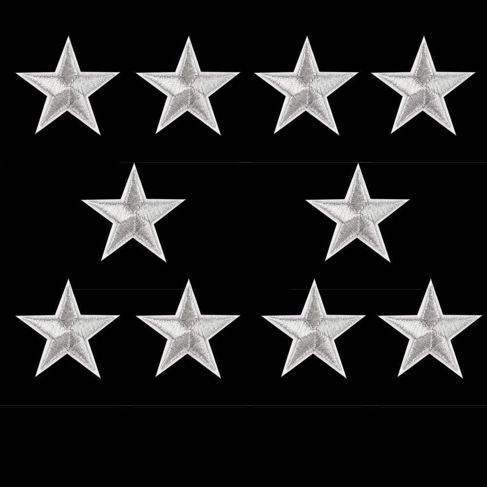 FiedFikt accesorios de ropa insignias bordadas 10 pegatinas de parche de estrellas plateadas para ropa zapatos y sombreros