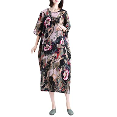 9e51be3173bf Amazon.com: T-shirt Dresses,Gallity Women's Summer Vintage Printed Short- Sleeve Ladies O Neck Casual Mid-Calf Dress Beach Loose Sundress: Clothing
