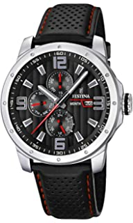 Mens Watch Festina F16585/8 Leather Band Black Dial