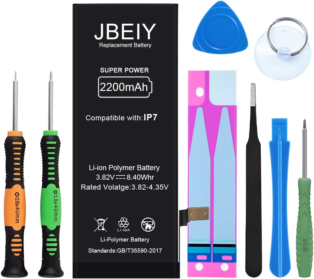 JBEIY Battery Compatible with iPhone 7, 2200mAh High Capacity Replacement Battery 0 Cycle, with Professional Replacement Tools and Instructions -1 Year Warranty