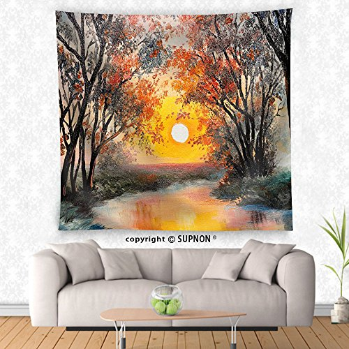 VROSELV custom tapestry Oil Painting on Canvas - the River Watercolor Wallpaper Tree - Fabric Wall Tapestry Home Decor - Crest Tapestry
