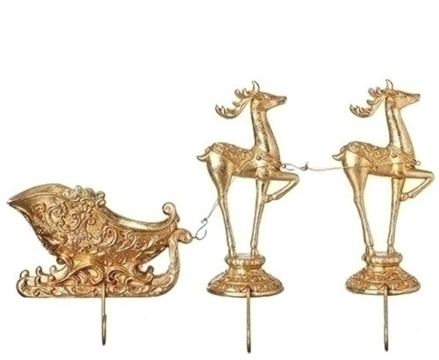 3 Piece Set of 9.5 Christmas Gilded Gold Deer Pulling Sleigh