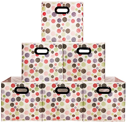 Frosted Tote ((6pack Polka) Larger Storage Bins, Containers, Boxes, Tote, Baskets| Two Plastic Handles Collapsible Storage Cubes For Household Organization |Nursery or Offices Storages Drawer (Polka 6pack, Large))