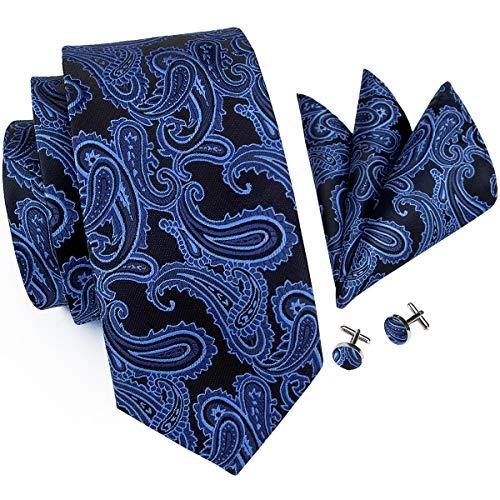 Hi-Tie Mens Blue Black Paisley Tie and Pocket Square Cufflinks Tie Set