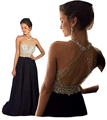 84c4b0f6bc7 Fanciest Women s Crystal Beaded Prom Dresses 2019 Long Evening Gowns Formal  Black US2