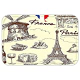 VROSELV Custom Door MatEiffel Tower Decor Collection Patisserie Restaurant Drink Traditional Food Cheese Tasty Menu Sketchy Doodle