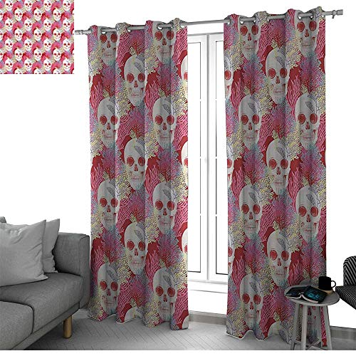 Strand Multi Bone - bybyhome Coral Decor Window Curtains for Living Room Double Exposured Graphic Mexican Skull Bones and Exotic Creepy Dead Icon with Plants Kitchen Curtain Multi W120 x L108 Inch