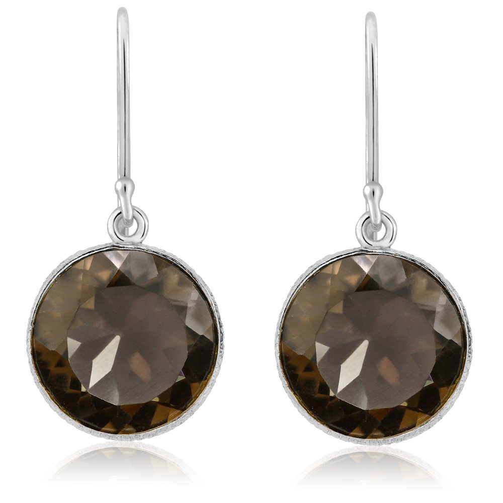 Gem Stone King 12.00 ctw Round Smokey Quartz Sterling Silver Lever Back Earrings