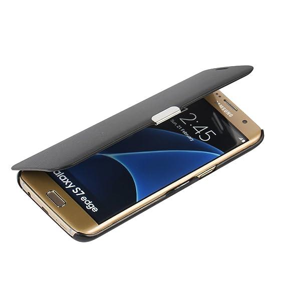 lowest price 36c0f 76ff2 S7 Edge Case, Galaxy S7 Edge Case, MTRONX™ Magnetic Ultra Folio Flip Slim  Leather Twill Case Cover Pouch for Samsung Galaxy S7 Edge - Black(MG-BK)