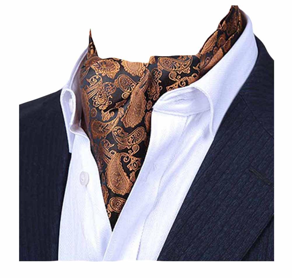 MENDENG Men's Gold Purple Paisley Jacquard Woven Silk Cravat Formal Ties Ascot END0910098