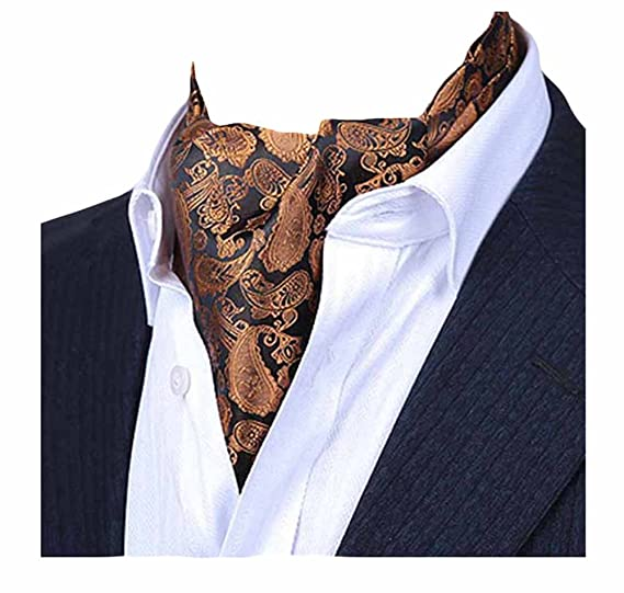 cdc27b6837b1 Amazon.com: MENDENG Men's Gold Purple Paisley Jacquard Woven Silk Cravat  Formal Ties Ascot: Clothing