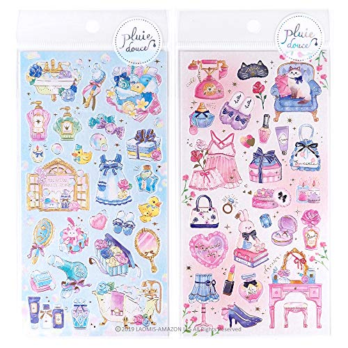 Mind Wave Japanese Pluie Douce Girly Watercolor Foil Stamping Stickers Sheets/Pack of 2 (Girly Room [ 79570 ] + Bubble Bath [ 79571 ])