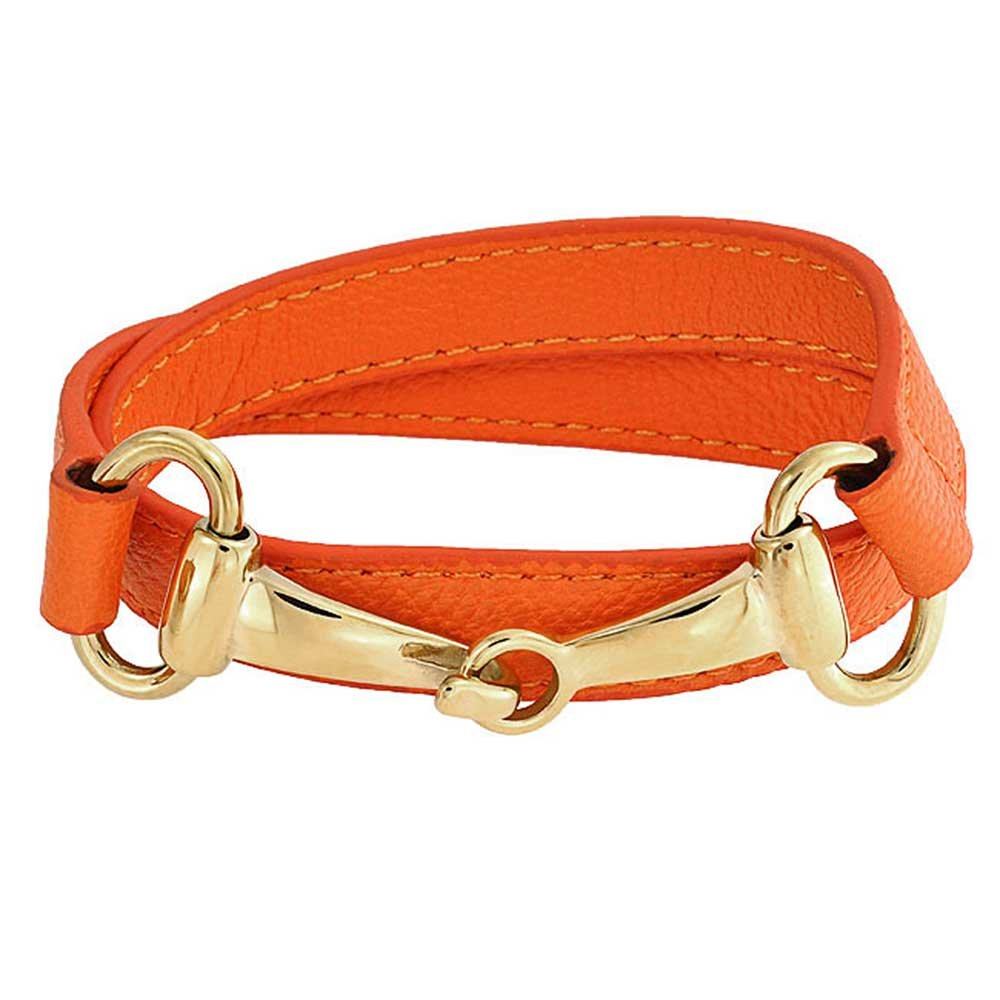 Orange Leather Gold Plated Steel Horses Bit Wrap Bracelet