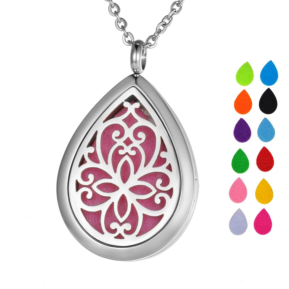 Valyria Stainless Steel Butterfly Teardrop Essential Oil Diffuser Necklace Aromatherapy