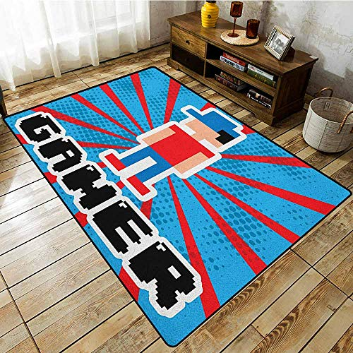 Non-Slip Rug,Video Games,Blue and Red Striped Boom Beams Retro 90s Toys Boy with Cap,Large Area mat Vermilion Blue White Black