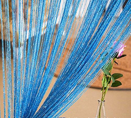 ave split Decorative Door String Curtain Wall Panel Fringe Window Room Blind Divider Tassel Screen Home 100cm200cm (Sky blue18) (Blue Wall Sky Curtain For Color)