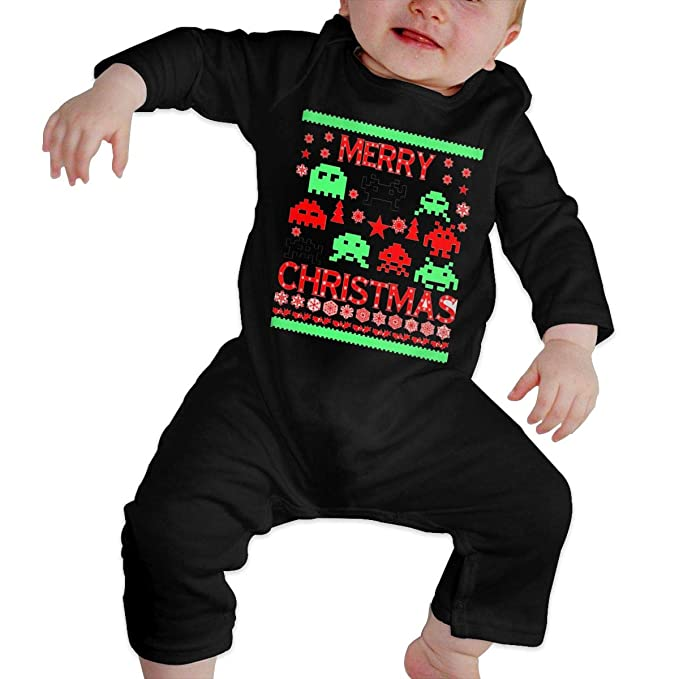 a80881822624 HELLOWI Merry Christmas Ugly Alien Unisex Baby Bodysuit Crawler Fashion  Romper Clothes
