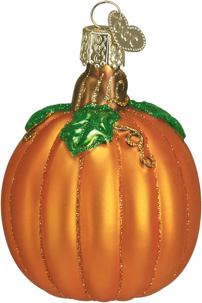 Old World Christmas Thanksgiving Blown Ornaments for Christmas Tree, Pumpkin Glass