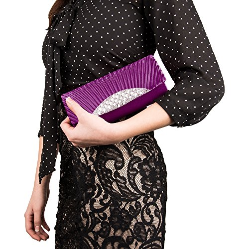 Purses Case Women's Purple Dinner Bag Diamond lady wallet VanGoddy clutch Mildred Girl's Anna Fashion Evening qnw7R