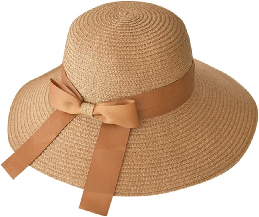 Longra💞 Sombrero de Playa de Paja Plegable de para Mujer, de ala ...