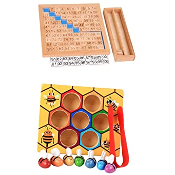 Bee Clip Box Counting Toy Montessori Math 1-100 Consecutive Numbers Board