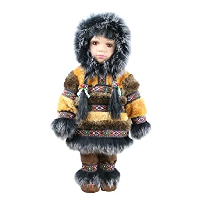 "ACE USA 12"" Porcelain Native Alaskan Doll with Parka (Tan): Toys & Games"