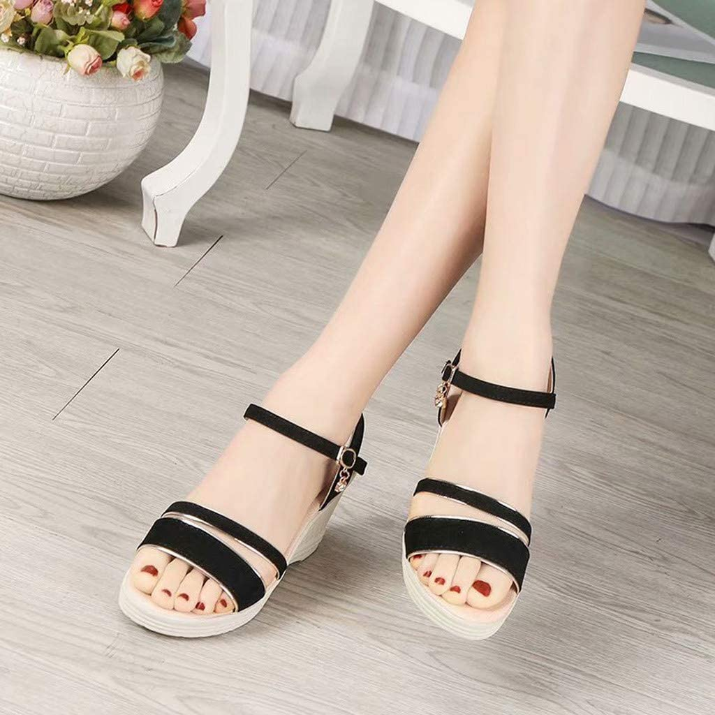 MmNote Women Shoes Women/'s Stylish Comfortable Platformed Wedge Open Toe Adjustable Ankle Strap Low Heel Breathable