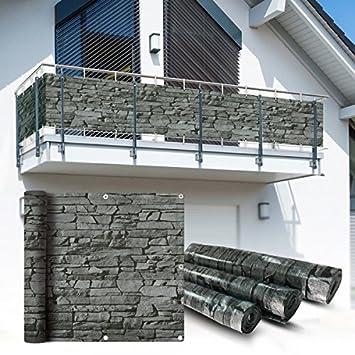 balkon sichtschutz 6x0 9m schiefer look balkonsichtschutz balkonverkleidung sichtschutzmatte balkonverkleidung balkonbespannung