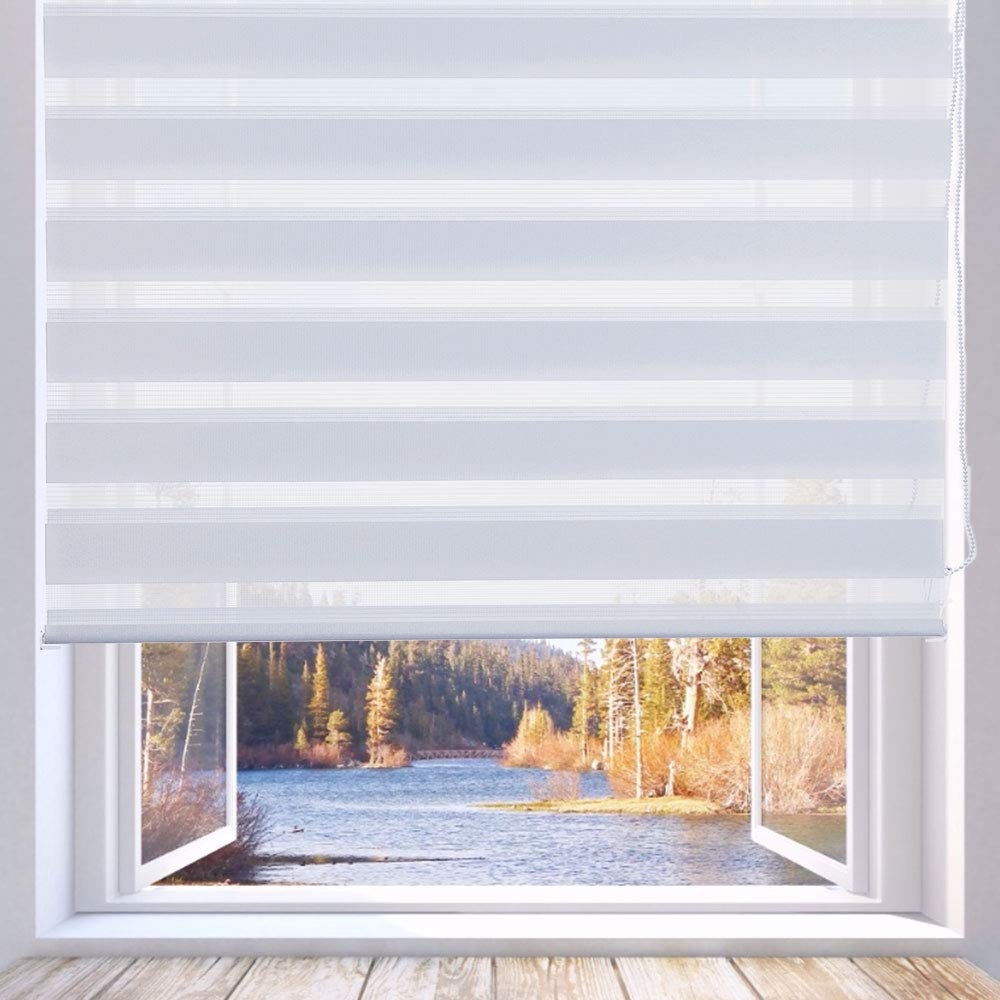 LUCKUP Horizontal Window Shade Blind Zebra Dual Roller Blinds Day and Night Blinds Curtains,Easy to Install 33.5'' x 90'', White by LUCKUP