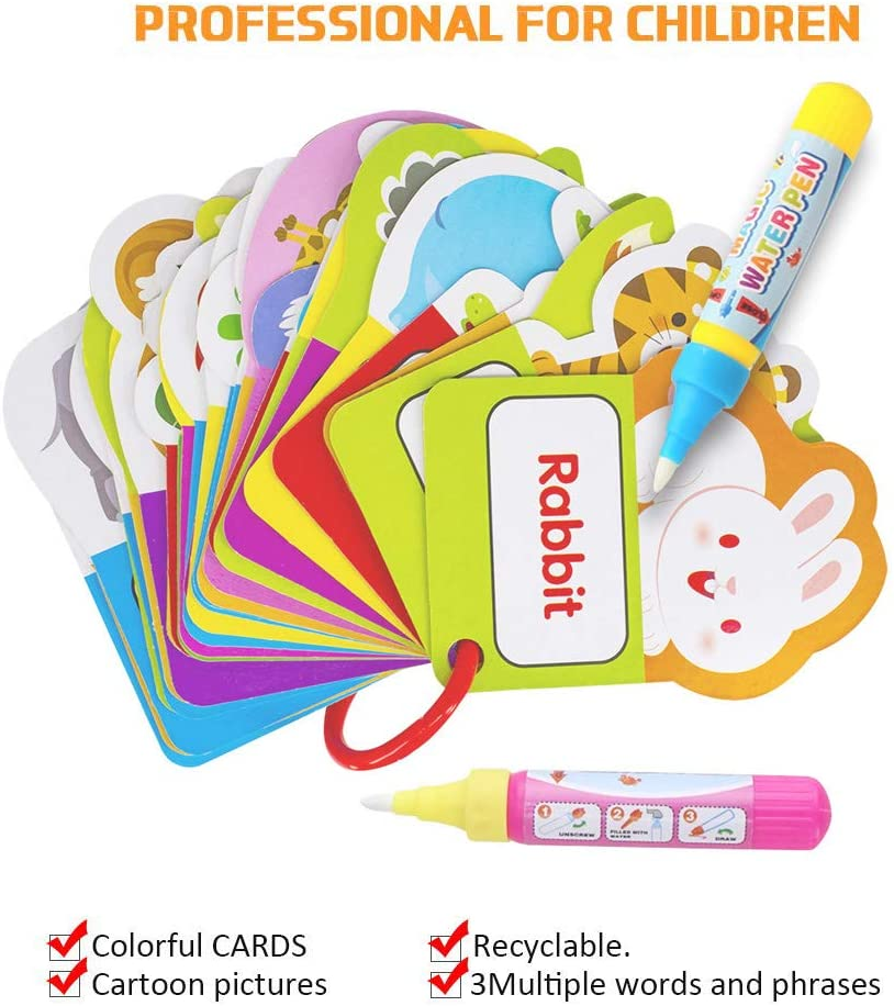 Beast Learning Toy for Toddlers Gift/ Water Painting Magic Doodle Card World Animals with 2 Magic Pen Included Lynkaye Water Doodle Card Children Early Education Cognitive Drawing Cards