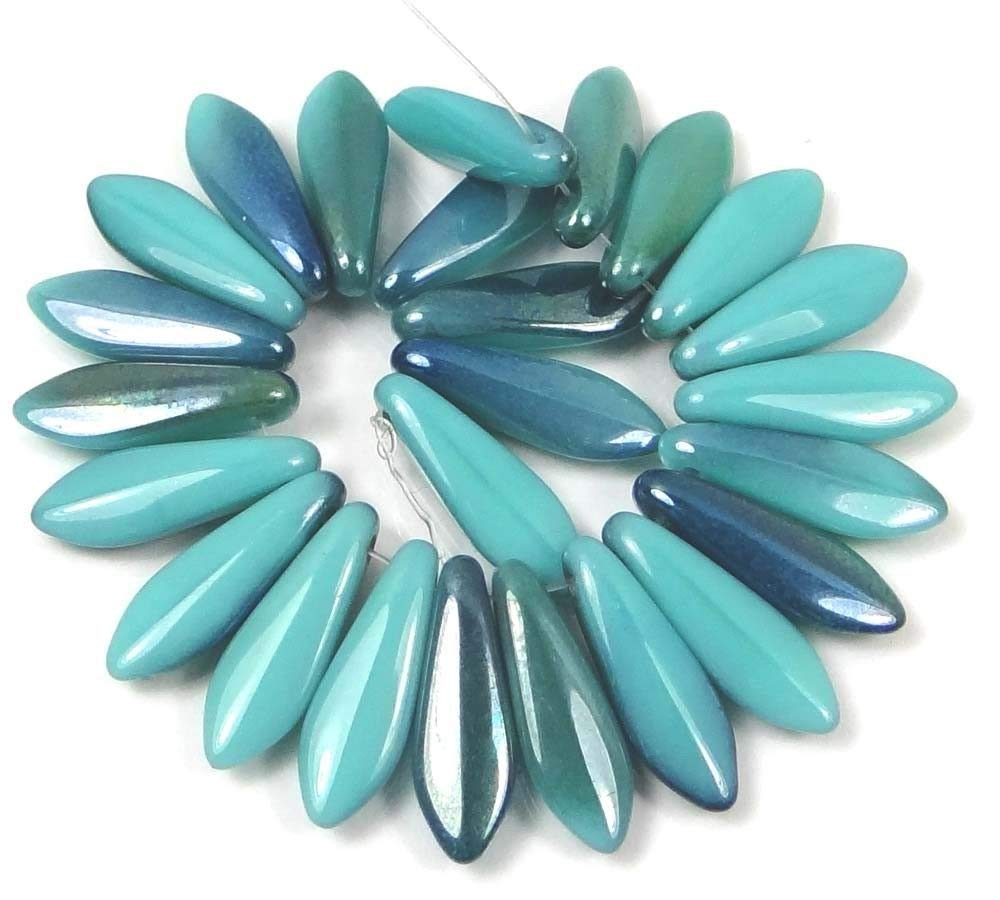 25 5 x 16 mm Czech Glass Dagger Beads Turquoise Blue Ultra Luster