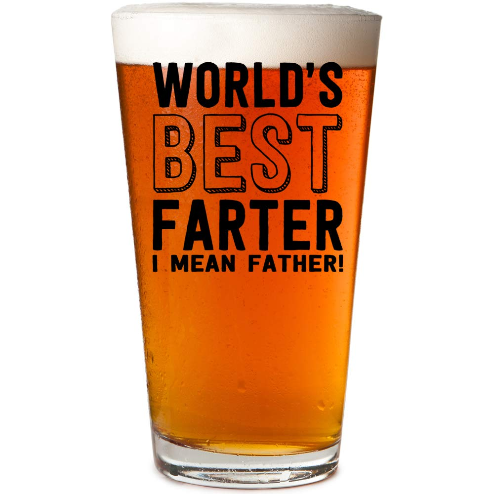 World's Best Farter I Mean Father Beer Pint Glass & Dad Gag Gift Box (Black)