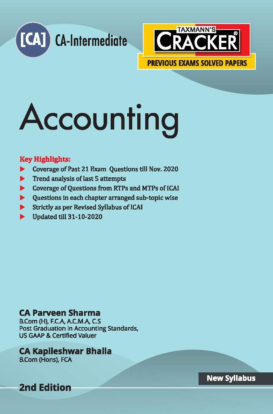 Taxmann's CRACKER – Accounting | CA-Intermediate – New Syllabus | Updated till 31-10-2020 | 2nd Edition