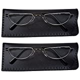 2 Men's Half Frame Reading Glasses With Pouch